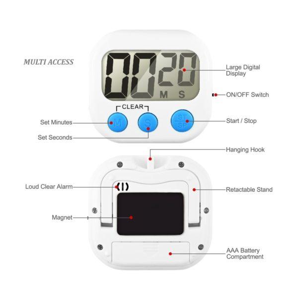 Minuteur de cuisine numérique digital écran LCD alarme sonore (5)