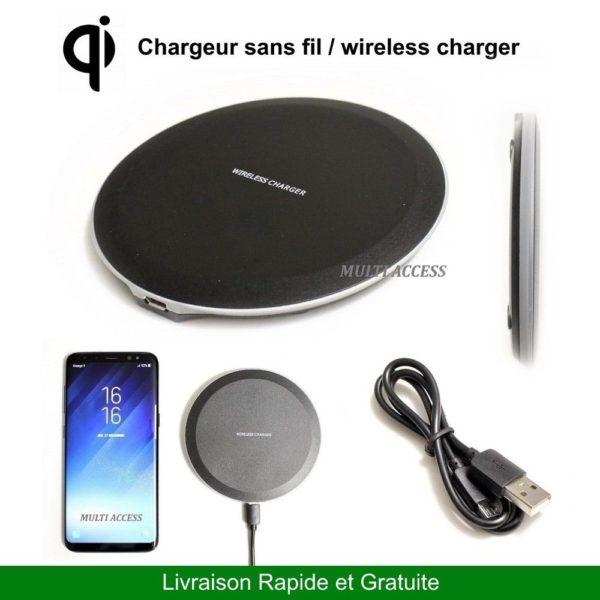 Chargeur sans fil Induction QI pour Iphone 8 X XS XR Galaxy S6 S7 S8 S8+ S9 S9+ MULTI ACCESS