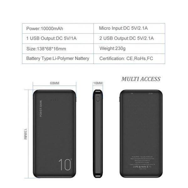 Batterie Externe, Powerbank, Chargeur Portable, Batterie de Secours 10000 mAh 2 ports USB(5)