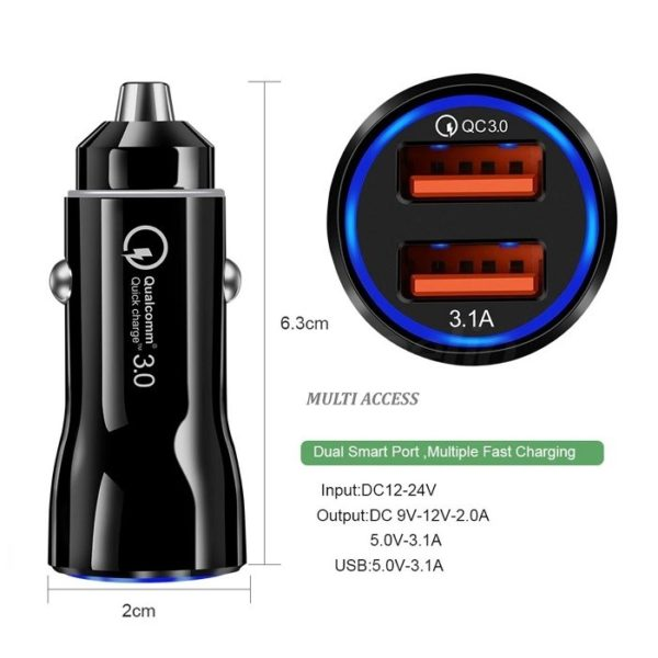 Chargeur allume cigare rapide double USB universel voiture 3