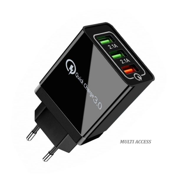 Chargeur Secteur USB 3 Ports Universel, Adaptateur Secteur USB, 1X USB charge rapide 1
