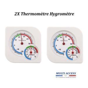 2 X Thermomètre Hygromètre intérieur extérieur double cadran mécanique blanc