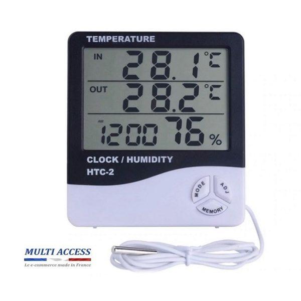 Station météo Thermomètre digital intérieur avec sonde extérieur Hygromètre température horloge 1
