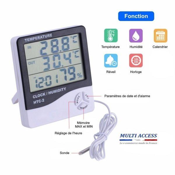 Thermomètre numérique intérieur/extérieur avec sonde filaire hygromètre