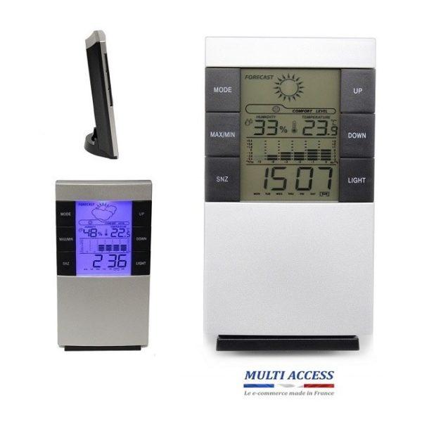 Station météo sans fil Thermomètre intérieur Hygromètre Horloge Digital 1